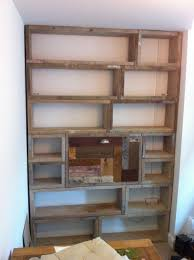 bookcase desk made from old scaffold boards and off cuts of
