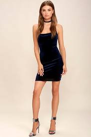 buy cheap sultry summoning navy blue velvet bodycon dress