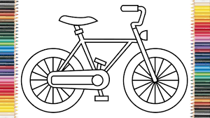 how to draw bicycle for kids coloring pages and learn colors for