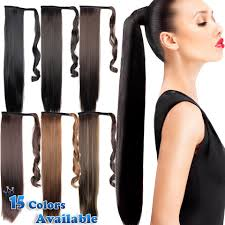 ponytail extension 24inch black synthetic clip in ribbon ponytail hair