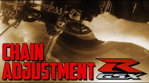 how to tighten the chain on a motorcycle suzuki gsxr youtube