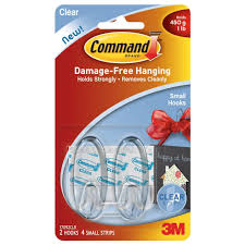 command the home depot small clear hooks with clear strips 2 pack