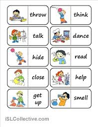 action words domino worksheet free esl printable worksheets made
