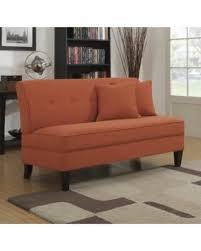 Loveseat Settee Bargains On Portfolio Engle Modern Orange Linen Armless Loveseat