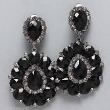 drag clip on earrings big onyx black cz clip on earrings pageant drag