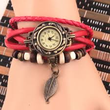 quartz bracelet wrist watches images Leather leaf decoration women ladies quartz retro design bracelet jpg
