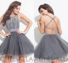 elegant grey crystal 2016 homecoming dresses backless tulle