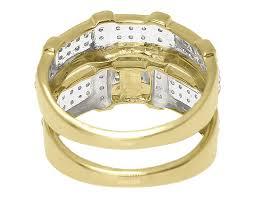 Trio Wedding Ring Sets by 10k Yellow Gold Mens Ladies Round Pave Diamond Wedding Trio Ring