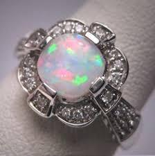 vintage australian opal diamond ring wedding white gold art deco