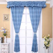Blue Curtain Valance Blue Polyester Mediterranean Style Kids Room Country Plaid