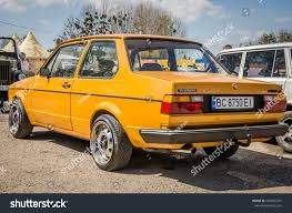 volkswagen yellow car vehicle retro lviv ukraine april 2016 luxury old stock photo 407605741