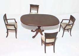 Dollhouse Dining Room Furniture Bespaq Dollhouse Dining Room Table 4 Chairs Pedestal Ebay
