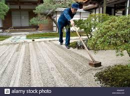 gardener raking a new zen garden at the silver pavilion ginkakuji
