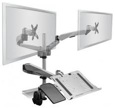 dual monitor desk mount with a laptop platform c clamp