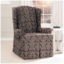 Slipcover For Wingback Chair Design Ideas Black Wing Recliner Slipcover Sorrentos Bistro Home