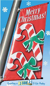 banners winter seasonal commercial lignt pole