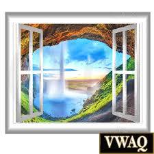 majestic waterfall scene 3d window frame graphics wall sticker majestic waterfall scene 3d window frame graphics wall sticker peel and stick decal landscape mural vwaq