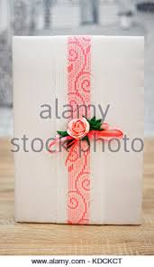 wedding wish book wedding wish book decorated with flowers and pink lace stock photo