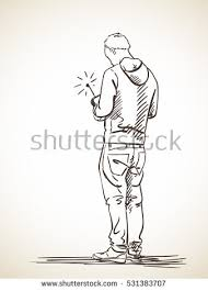 sketch man using remote control back stock vector 531383707