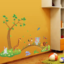 3d cartoon jungle wild animal tree bridge flowers wall stickers