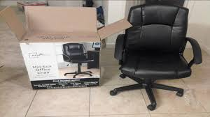 black leather desk chair unboxing and assembling mainstays mid black office chair youtube