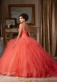 coral quince dress ruffled tulle quinceañera dress style 89102 morilee