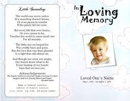 baby funeral program clouds youth memorial program funeral phlets