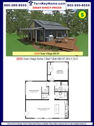 solar modular home prices from all american homes solar village zero 1 bed 1 bath solar village plan 884 sf all american homes solar village series direct price