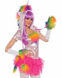 Rainbow Halloween Costume Rainbow Unicorn Rave Monster Hat Gloves Tutu Tail Womens
