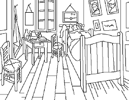 tableau de gogh la chambre dididou coloriage de peintures page 3