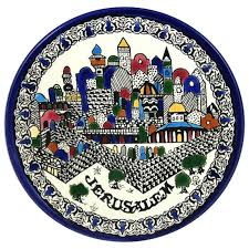 ceramic platter jerusalem plate armenian ceramic judaica web store