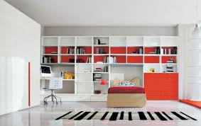 kids room storage ideas pale orange wall paint color blue stain