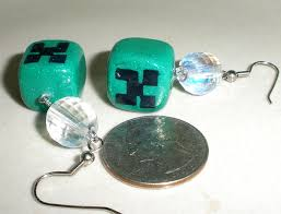 minecraft earrings minecraft disco creeper earrings polymer clay by brisbykins on