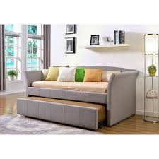 daybed twin bed frame with trundle upholstered grey linen