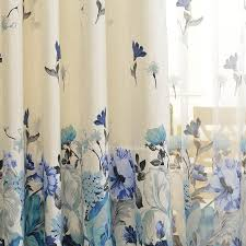 Blue And White Floral Curtains Cotton Blue Floral Curtains Bedroom Curtains