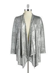 silver cardigan sweater lyst calvin klein plus open front knit cardigan in metallic