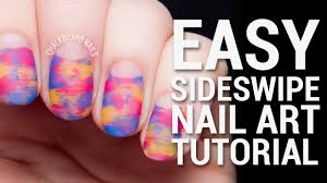 tutorial easy sideswipe nail art with negative space youtube