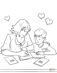 mother helping her son with homework coloring page free