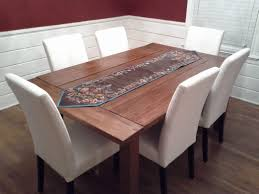 Modern Bench Dining Table Modern Farmhousening Table With Burlap Runner And White Farm Style