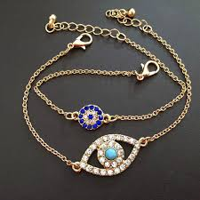 charm bracelet with evil eye images 2015 free shipping retail double thin chain evil eye charms jpg