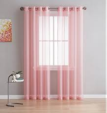 Bright Red Sheer Curtains Amazon Com Rose Pink Sheer Window Panel Curtain 2 By Editex