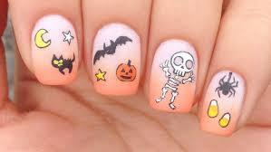 nail art tutorial halloween theme cute skeleton youtube