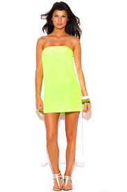 sun dress shop neon yellow green chiffon cape high low strapless mini sun dress