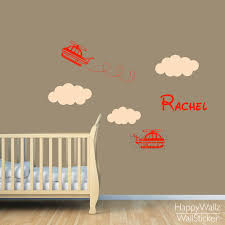 aliexpress com buy baby nursery airplane wall sticker diy custom aliexpress com buy baby nursery airplane wall sticker diy custom name wall decal children name kids rooms airplane clouds wallpaper 525c from reliable