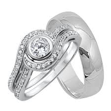 silver wedding ring sets his and brilliant wedding rings set sterling silver