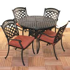 Round Table Patio Dining Sets by Comfortcare 5 Piece Metal Outdoor Dining Set With 48