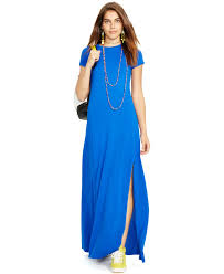 polo ralph lauren short sleeved maxi dress in blue lyst