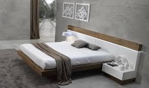 Lacquer Bedroom Set by Madrid Modern European Style Walnut Veneer U0026 Natural White