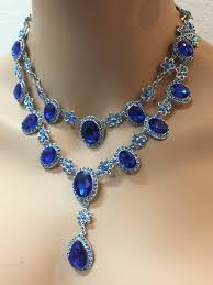 blue crystal necklace vintage images Wedding jewelry set vintage inspired from linq la jewelry jpg