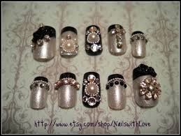 bridal wedding nail art design 3d fusion of pearls beads classy